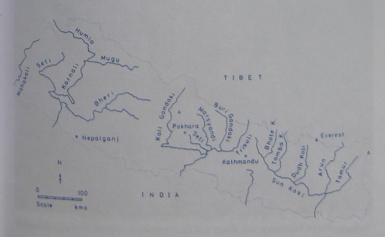 Схематичная гидрокарта Непала